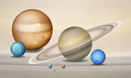 Three dimensional planets concept scene illustration Illustration