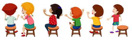 Kinderen die op stoelenillustratie zitten