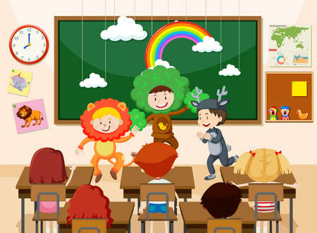 Bambini che eseguono davanti all'illustrazione della classe