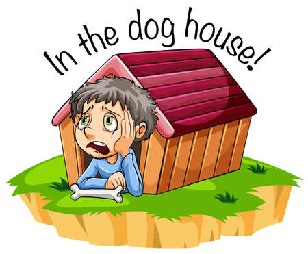 In the dog house idiom illustration Stock fotó - 109197912