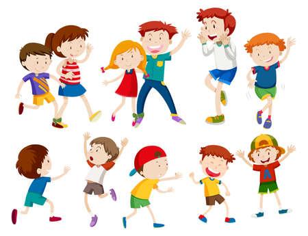 Conjunto de ilustración de niños felices Ilustración de vector