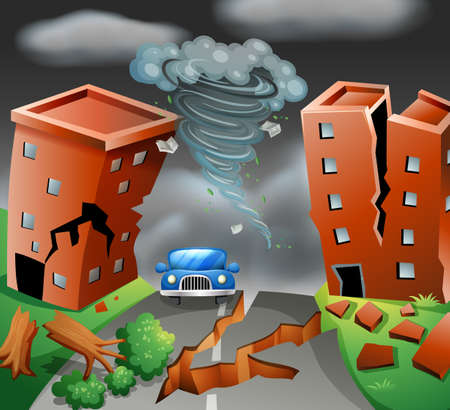 Tornado diaster town scene  illustration 일러스트