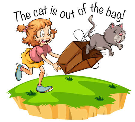 The cat is out of the bag illustration Stock Illustratie