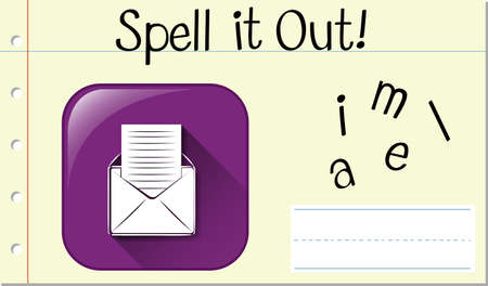 Spell English word email illustration