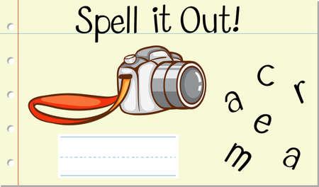 Spell English word camera illustration