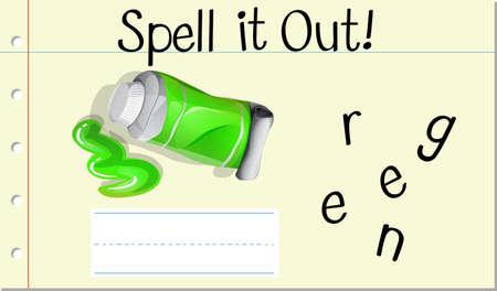 Spell English word green illustration