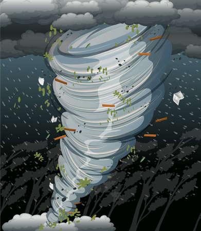 Un cyclone tourbillonne dans l'illustration de la tempête sombre