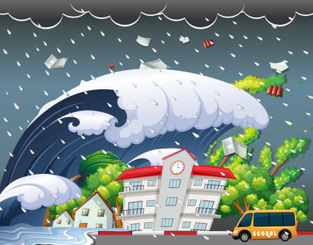 Tsunami hit school building illustration