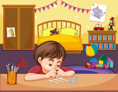 Un niño esnifando cocaína en la ilustración del dormitorio Ilustración de vector