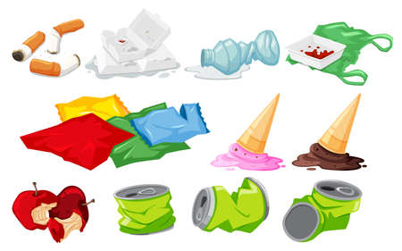 Set of waste on white background Ilustrace