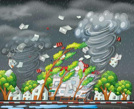 Destructive tornado city scene illustration