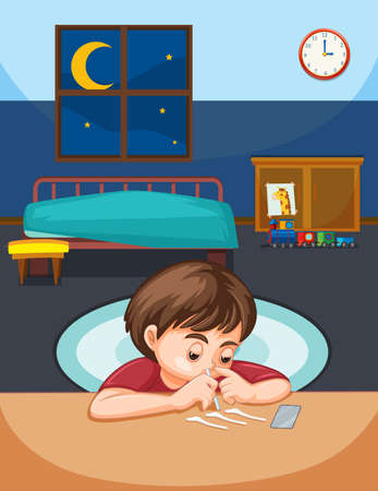 A boy snort cocaine in bedroom illustration