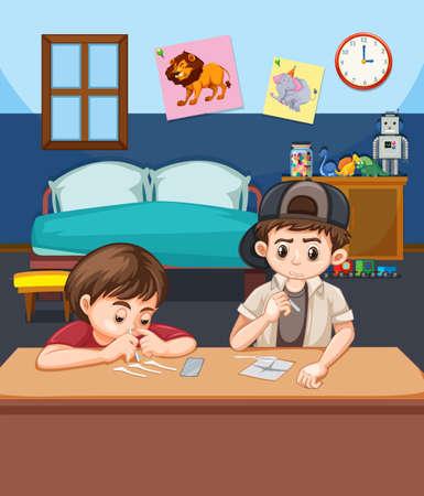 Ilustración de dos niños esnifando cocaína