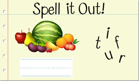 Épeler illustration de fruit de mot anglais