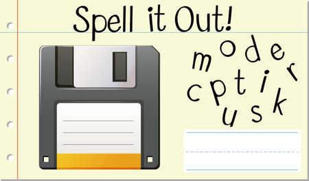 Spell Enlish word computer disk illustration