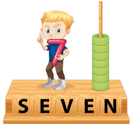 A boy holding number seven illustration