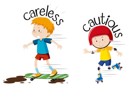 English opposite word  careless and cautious illustration
