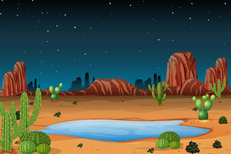 A desert scene at night illustration Illustration