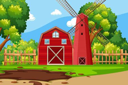 Scena di fattoria con illustrazione di fienile rosso