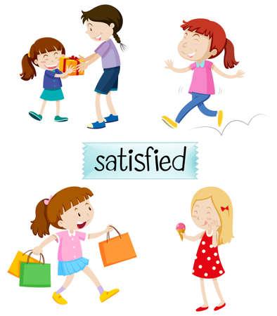 Set of satisfied people illustration