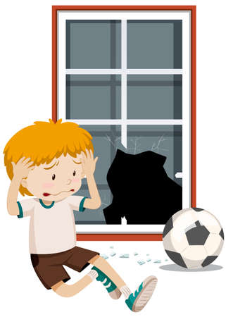 A boy break window with football illustration Vectores