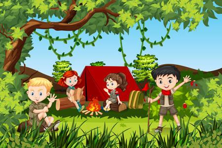 Canping enfants à l'illustration de la forêt