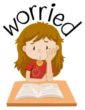 English vocabulary of girl worried  illustration