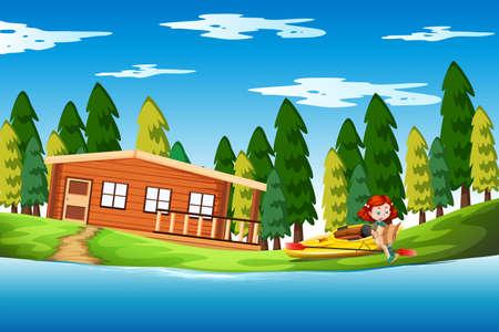 Girl on holiday lake house illustration