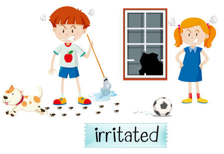 Two children irritated scene illustration Stock Illustratie