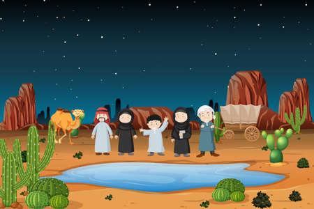 Arabic caravan in desert illustration Vettoriali