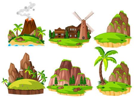 Set of different islands illustration