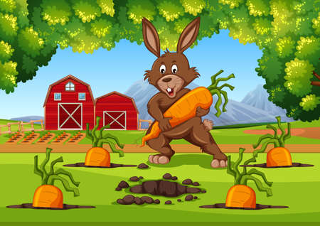 Bunny with carrots farm scene illustration