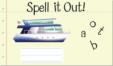 Spell English word boat illustration