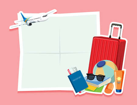 Blank note with travel object illustration Vectores