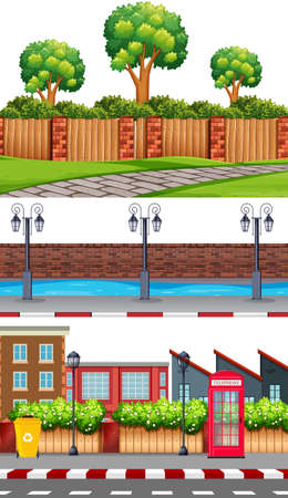 Set of urban background illustration Ilustração
