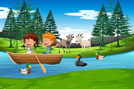 Kids in a boat scene illustration