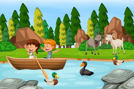 Woods scene with children and animals illustration