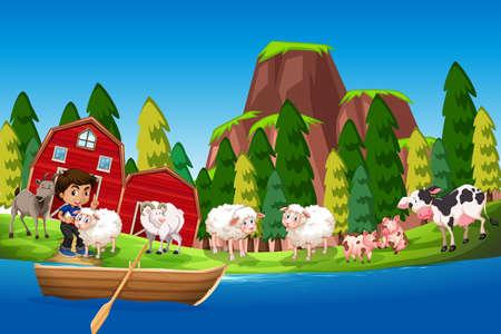 Farm scene with boy and animals illustration