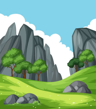 Nature rock mountain landscape illustration