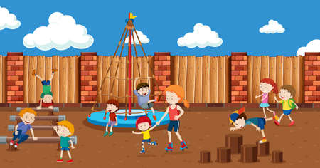 People at the playground illustration