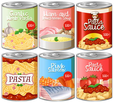 Set of canned pasta sauce illustration