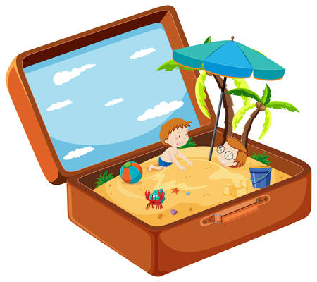 A suitcase in summer beach illustration