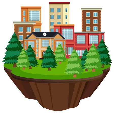 Isolated island urban building illustration