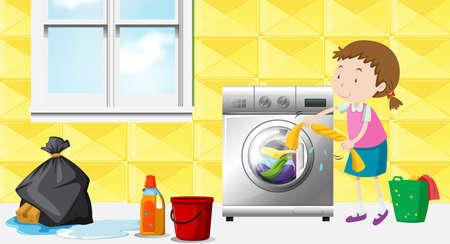Fille faisant la lessive dans l'illustration de la chambre
