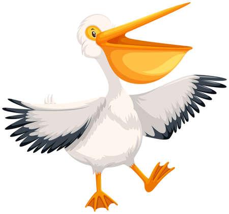 A happy pelican character illustration