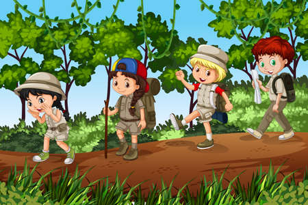 Groups of scouts exploreing outdoor illustration