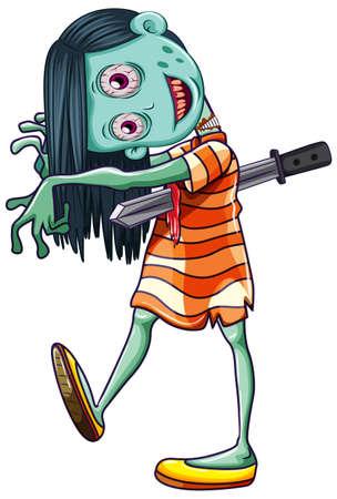 Creepy Zombie Girl white background illustration