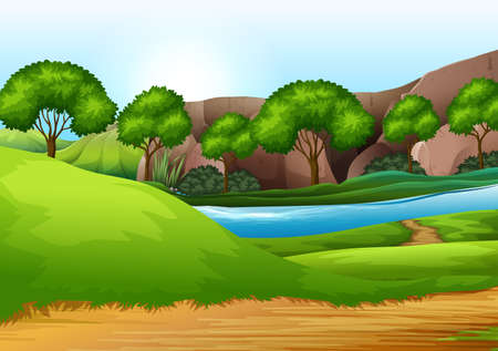 A green nature landscape illustration