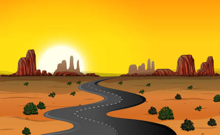 A desert road background illustration