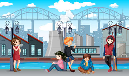 Group of bad teenagers scene illustration